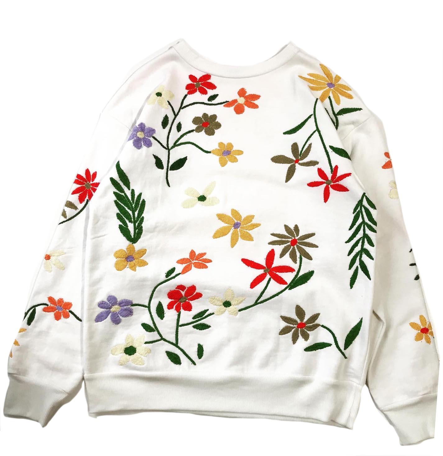 Flower Embroidery Crew Neck Sweat  - All Over