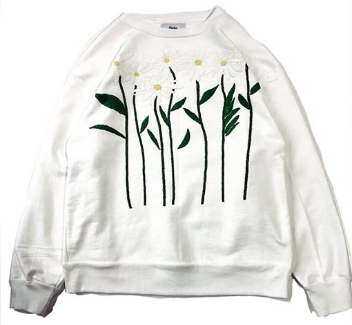 Flower Embroidery Crew Neck Sweat - Cosmos